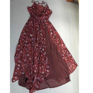 Maxi Mixed Print Dress with Slit